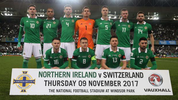 PressEye-Northern Ireland- 9th November  2017-Picture by Brian Little/ PressEye Northern Ireland team against  Switzerland.  during Thursday night's FIFA European World Cup play-off  leg 1 match at the National Football Stadium at Windsor Park. Picture by Brian Little/PressEye