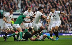 LONDON, ENGLAND - FEBRUARY 22:  Billy Vunipola of England breaks through the Ireland defence during the RBS Six Nations match between England and Ireland at Twickenham Stadium on February 22, 2014 in London, England.  (Photo by Shaun Botterill/Getty Images)