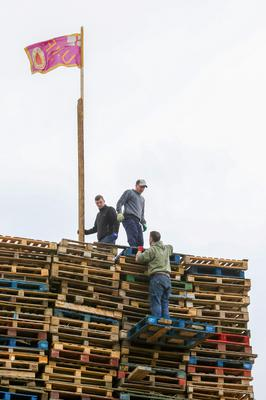 The Edgarstown bonfire in Portadown in the final stages of preparation for the 11th July celebrations. Photo: PressEye