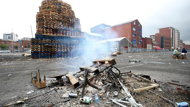 11th July 2018 - Picture by Matt Mackey / PressEye.com  11th night bonfires are prepared around Belfast as July 12th draws near.  Sandy Row, South Belfast.
