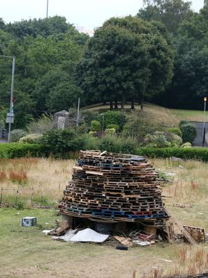11th July 2018 - Picture by Matt Mackey / PressEye.com  11th night bonfires are prepared around Belfast as July 12th draws near.  Mount Vernon, North Belfast