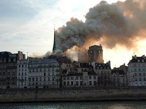 Handout photo taken with permission from the twitter feed of @slopezserra of smoke pouring from Notre Dame Cathedral in Paris, which is on fire. PRESS ASSOCIATION Photo. Issue date: Monday April 15, 2019. See PA story FIRE NotreDame. Photo credit should read: @slopezserra/PA Wire  NOTE TO EDITORS: This handout photo may only be used in for editorial reporting purposes for the contemporaneous illustration of events, things or the people in the image or facts mentioned in the caption. Reuse of the picture may require further permission from the copyright holder.