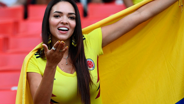 The beautiful game: World Cup fans - A Colombia's fan cheers prior to the Russia 2018 World Cup round of 16 football match between Colombia and England at the Spartak Stadium in Moscow on July 3, 2018.