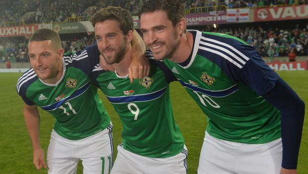 PACEMAKER BELFAST   27/05/2016 Northern Ireland v Belarus  Friendly International Northern Ireland   Goal Scorers , Conor Washington, Will Grigg and Kyle Lafferty  after  this evenings Friendly International at Windsor park. Photo Colm Lenaghan/Pacemaker Press