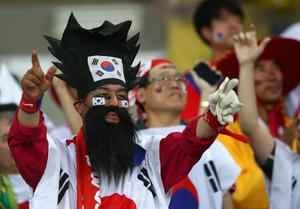 CUIABA, BRAZIL - JUNE 17:  A South Korea fan cheers during the 2014 FIFA World Cup Brazil Group H match between Russia and South Korea at Arena Pantanal on June 17, 2014 in Cuiaba, Brazil.  (Photo by Adam Pretty/Getty Images)