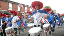 The First Ulster Flute Band parade in the Sandy Row area of Belfast. Pic Stephen Davison