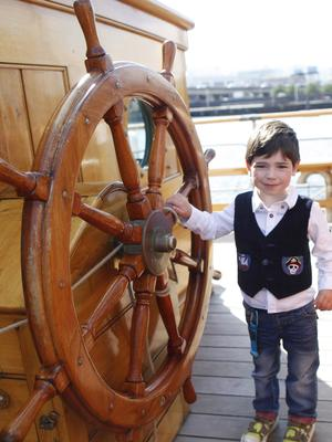Rowan Savage (3) enjoying the Maritime festival  pictured on the ship Kaskelot. Pic by Peter Morrison