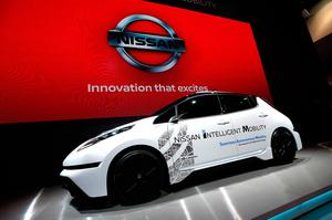 LAS VEGAS, NV - JANUARY 05:  A Nissan Leaf, an electric vehicle is displayed at the Nissan Booth at CES 2017 at the Las Vegas Convention Center on January 5, 2017 in Las Vegas, Nevada. CES, the world's largest annual consumer technology trade show, runs through January 8 and features 3,800 exhibitors showing off their latest products and services to more than 165,000 attendees.  (Photo by David Becker/Getty Images)