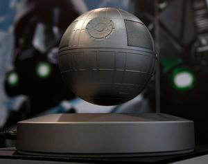 LAS VEGAS, NV - JANUARY 05:  Plox's Star Wars Death Star Levitating Bluetooth Speaker is displayed at CES 2017 at the Sands Expo and Convention Center on January 5, 2017 in Las Vegas, Nevada. The USD 179, five-watt speaker rotates above a magnetic base providing 360 degrees of sound and five hours of continuous playback on Bluetooth. CES, the world's largest annual consumer technology trade show, runs through January 8 and features 3,800 exhibitors showing off their latest products and services to more than 165,000 attendees.  (Photo by Ethan Miller/Getty Images)