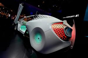 LAS VEGAS, NV - JANUARY 05:  Toyota's Concept-i, an autonomous self-diving vehicle is displayed at the Toyota booth at CES 2017 at the Las Vegas Convention Center on January 5, 2017 in Las Vegas, Nevada. CES, the world's largest annual consumer technology trade show, runs through January 8 and features 3,800 exhibitors showing off their latest products and services to more than 165,000 attendees.  (Photo by David Becker/Getty Images)