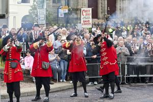 Firing the muskets, during the re-enactment of the Relief of Derry, during the Apprentice Boys 324th Annual Commemoration, in Derry on Saturday