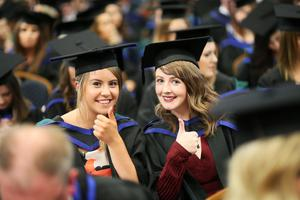 Students graduating from Ulster University . Pic By Paul Moane