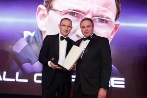Hall of Fame award: Martin O'Neill is inducted into the Hall of Fame and presented with his trophy by Chris Nelmes, Centre Manager of category sponsor The OUTLET Banbridge. Picture by Kelvin Boyes/ Press Eye