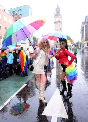 Pacemaker Press Belfast 02-08-2014:  Thousands of people pictured attending the annual Gay Pride parade in Belfast city centre. Now in its 24th year, the Belfast parade is claimed to be the largest of its kind on the island of Ireland. Picture By: Arthur Allison.