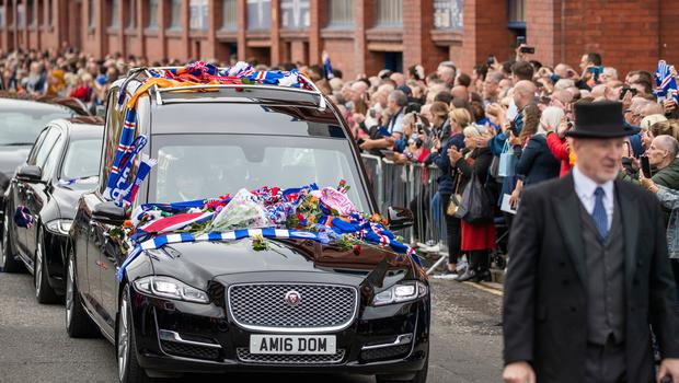 The Funeral procession of former Rangers player Fernando Ricksen passes Ibrox Stadium home of Glasgow Rangers. PA Photo. Picture date: Wednesday September 25, 2019. The former Holland international died aged 43 a week ago, six years after being diagnosed with motor neurone disease. Ricksen played more than 250 times for the Light Blues after joining from AZ Alkmaar in 2000, winning two league titles during his time in Glasgow. See PA story SOCCER Ricksen. Photo credit should read: Jane Barlow/PA Wire.