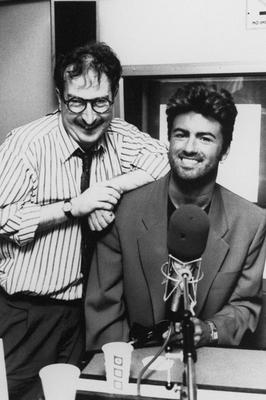 George Michael with BBC Radio 1 DJ Steve Wright. 31/08/90