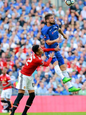 Manchester United's Chris Smalling and Chelsea's Oliver Giroud in action during the FA Cup final at Wembley on May 19th 2018 (Photo by Kevin Scott / Belfast Telegraph)