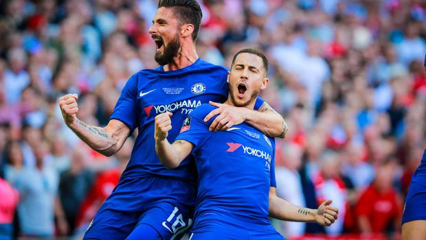 Chelsea's Eden Hazard scores in action during the FA Cup final at Wembley on May 19th 2018 (Photo by Kevin Scott / Belfast Telegraph)