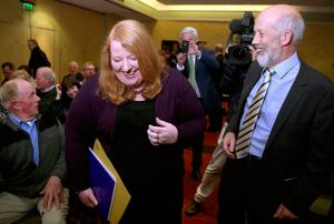 Alliance Party's outgoing leader David Ford with deputy leader Naomi Long who is set to be elected as the new leader of the party at a special meeting of the party council in the Park Avenue Hotel, Belfast. PRESS ASSOCIATION Photo. Picture date: Wednesday October 26, 2016. See PA story ULSTER Alliance. Photo credit should read: Brian Lawless/PA Wire