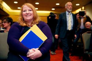 Alliance Party's deputy leader Naomi Long and outgoing leader David Ford (right), Long is set to be elected as the new leader of the party at a special meeting of the party council in the Park Avenue Hotel, Belfast. PRESS ASSOCIATION Photo. Picture date: Wednesday October 26, 2016. See PA story ULSTER Alliance. Photo credit should read: Brian Lawless/PA Wire