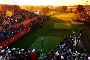 CHASKA, MN - OCTOBER 01:  (EDITORS NOTE: A graduated color filter was used for this image.) Thomas Pieters of Europe hits off the first tee during morning foursome matches of the 2016 Ryder Cup at Hazeltine National Golf Club on October 1, 2016 in Chaska, Minnesota.  (Photo by David Cannon/Getty Images)