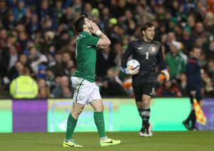 Republic of Ireland's Shane Long reacts after going close during the international friendly at The Aviva Stadium, Dublin. Pic Brian Lawless/PA Wire