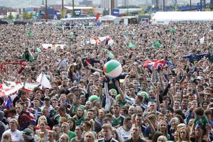 Fans at the Northern Ireland fanzine at Titanic slipways in Belfast for Northern Ireland's crucial Euro 2016 clash against World Champions Germany in Paris.   Photo by Peter Morrison/Belfast Telegraph