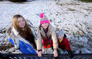 Presseye - Belfast - Northern Ireland - 9th December 2017  Children enjoy the recent snow fall at Stormont in east Belfast. Jack (5) along with his sister Mia (10) and friend Rachel (11) pictured at parliament buildings.  Mandatory Credit ©Matt Mackey / Presseye.com