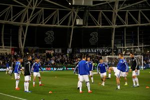 DUBLIN, IRELAND - NOVEMBER 16:  The Bosnia and Herzegovina team warm up prior to kickoff during the UEFA EURO 2016 Qualifier play off, second leg match between Republic of Ireland and Bosnia and Herzegovina at the Aviva Stadium on November 16, 2015 in Dublin, Ireland.  (Photo by Ian Walton/Getty Images)