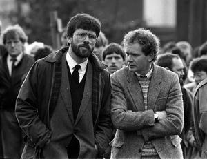 File photo dated 11/05/87 of Sinn Fein President Gerry Adams and West Belfast MP Martin McGuinness (right) at the funeral of Patrick Kelly, 30, the reputed IRA commander in East Tyrone.  PA Wire