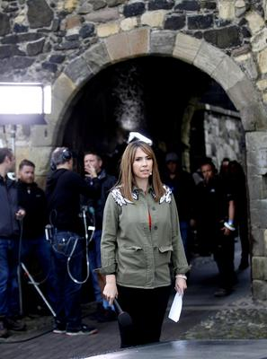 Alex Jones from the One Show arrives for filming at Carrickfergus Castle. Pic by Peter Morrison