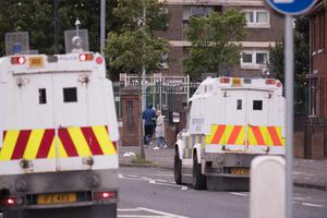 Police at the scene of disorder in north Belfast. Pic Kevin Scott