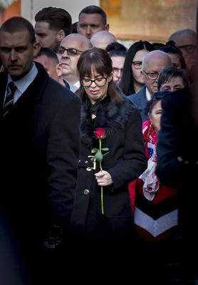 Toni Ogle as The funeral of Ian Ogle takes place in east Belfast on February 4th 2019 (Photo by Kevin Scott for Belfast Telegraph)
