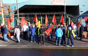 Kevin Scott / Belfast Telegraph   Friday 13th March 2015 - Public Sector Strikes  Pictured members of the UNITE union on strike outside the Falls Road Bus Depot in West Belfast on Friday 13th March.    Picture - Kevin Scott / Belfast Telegraph