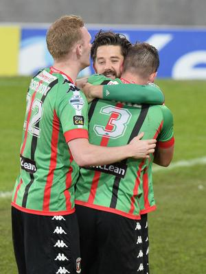 PACEMAKER BELFAST  09/05/2018 Linfield v Glentoran  Europa league play off semi final GlentoranÕs Curtis Allen  scores  during this evenings game at Windsor park. Photo Colm Lenaghan/Pacemaker Press