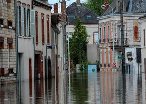This picture taken on June 1, 2016 shows a flooded street due to heavy rainfalls at Montargis, central France. Torrential downpours have lashed parts of northern Europe in recent days, leaving four dead in Germany, breaching the banks of the Seine in Paris and flooding rural roads and villages.  / AFP PHOTO / GUILLAUME SOUVANTGUILLAUME SOUVANT/AFP/Getty Images