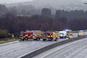 Emergency services and Gardai the scene of a collision at Carrickcarnan on the N1 Dundalk Co Louth.