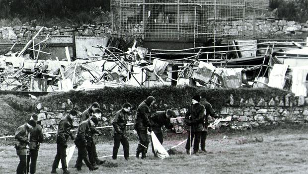 RUC officers at the scene of an IRA van bomb explosion at the border post in Killeen, Newry, which killed one British soldier and injured several others. 01/05/92