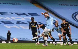 Kevin De Bruyne scored City's second goal from the penalty spot (Laurence Griffiths/NMC Pool)