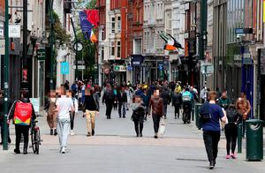 People on Dublin's Grafton street. Picture date: Saturday May 23, 2020. Brian Lawless/PA Wire