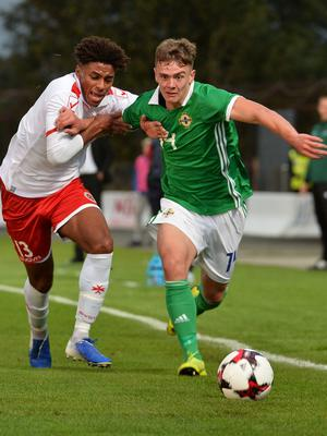 Pacemaker Press 6/09/19 Northern Ireland  v Malta U21 Euro Qualifier  N Ireland's Lewis Thompson    and Malta's Zachary Grech during this evening's game at the Ballymena Showgrounds.  Pic Colm Lenaghan/Pacemaker
