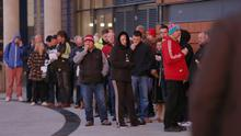 Pictured is the queue at the SSE Arena in Belfast to be amid the first in line for Adele tickets as the kicks of her tour at the SSE Arena in Belfast, Northern Ireland on December 04 (Photo by Kevin Scott )