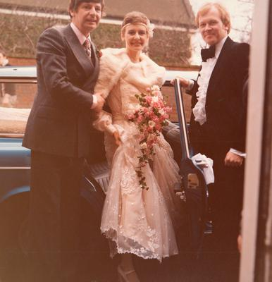 Jimmy and Robina Ellis on their wedding day with Doug Fielding