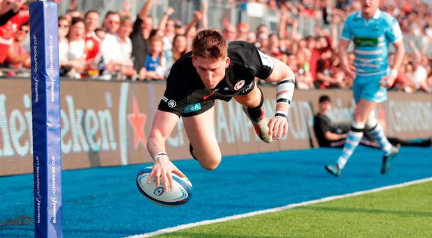 Try that: David Strettle crosses for Sarries
