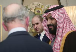 The Prince of Wales with Crown Prince Mohammed bin Salman and the Duke of Cambridge (Yui Mok/PA)