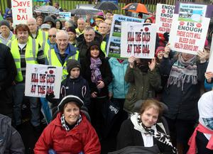 Protesters bring Ballycastle to a standstill on Saturday over the temporary closure of Dalriada Hospital