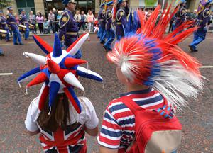 PACEMAKER BELFAST  13/07/2015 The 12th of July Parades Belfast City on Monday  to commemorate protestant King William of Orange's victory over Catholic King James II at the Battle of the Boyne in 1690. Photo Colm Lenaghan/Pacemaker Press