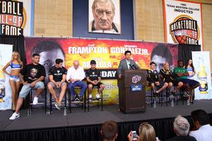 Press Eye - Belfast -  Northern Ireland - 16th July 2015 - Boxers Carl Frampton (cap), Alejandro Gonzalez, Jr. (right of podium) and their camps spoke to the media during a press conference held at the Don Haskins Center in El Paso, Texas  Picture by Jorge Salgado / Press Eye