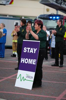 Press Eye - Belfast - Northern Ireland - 9th April 2020 -    UNISON members and staff at Craigavon Hospital, Northern Ireland alongside colleagues in the NI Fire and Rescue Service, NI Ambulance Service and PSNI hold a short event at 8.00pm to recognise and acknowledge the public support during a Clap for Blue Light Services.   Photo by Kelvin Boyes / Press Eye.