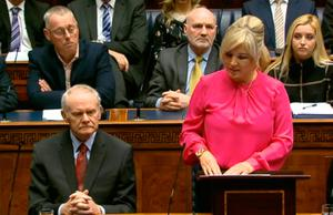 Video grab taken from the Northern Ireland Assembly of Michelle O'Neill speaking during an Assembly Plenary Session at Stormont in Belfast. : PA Wire